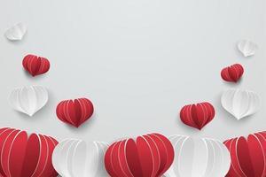 Liebeskartenhintergrund mit Herzpapierschnitt-Stilelement.