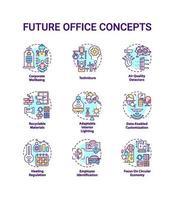 framtida kontor koncept ikoner set vektor