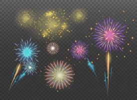 Feuerwerkssammlungen auf transparentem Hintergrund. vektor