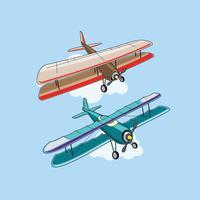 Set von Doppeldecker oder Flugzeug Attraktionen vektor