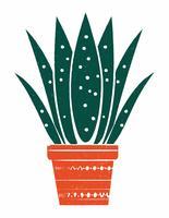 Linolschnitt-Art-Topfpflanze-Illustration