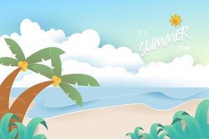 Strand und Meer Hintergrund. Sommerhintergrundkonzept. vektor