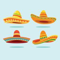 Traditionell mexikansk bredformad Sombrero hattsamling vektor