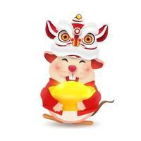Rattencharakter mit chinesischem Kostüm. frohes chinesisches neues jahr. vektor