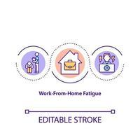 arbete-från-hemmet trötthet koncept ikon vektor