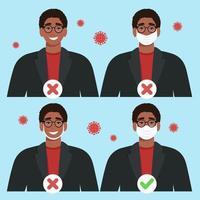 wie man eine Maske richtig und richtig trägt. Coronavirus-Covid-19-Pandemiekonzept vektor