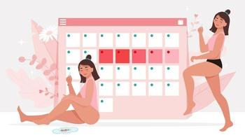 Menstruationsthema. weibliche Hygiene. vektor