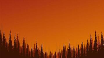 Sonnenschein und Sonnenaufgang Landschaftshintergrund mit Kiefernwald, freier Raum für Text vektor