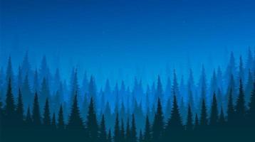 Nachtlandschaftshintergrund mit Kiefernwald und Stern, freier Raum für Text vektor