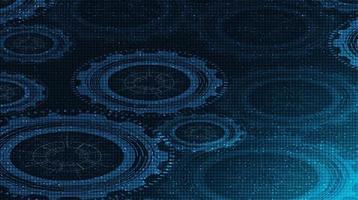 Digitaltechnik Zahnrad und Hahn auf Technologiehintergrund vektor