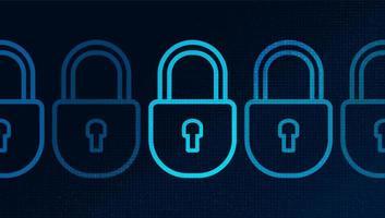 Sicherheits-, Schutz- und Verbindungskonzept für digitale Technologie-Schlösser vektor