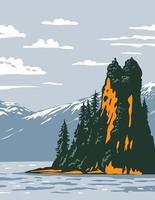 Neuer Eddystone-Felsen im nebligen Nationaldenkmal der Fjorde vektor