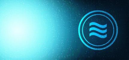 Waage Kryptowährungssymbol auf dem Hintergrund der Netzwerktechnologie vektor