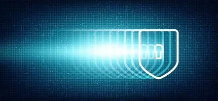 Super Speed Digital Technology Shield Sicherheits-, Schutz- und Verbindungskonzept Hintergrunddesign. vektor