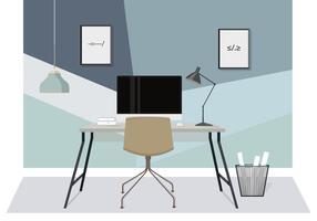 Schreibtisch-Illustration des Vektor-Designers