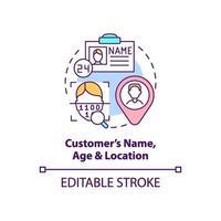 Symbol für Kundenalter, Name und Standortkonzept vektor