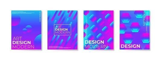Plakatsatz mit Kompositionshintergrund der Farbverlaufformen für Unternehmensbroschüre und -fahne vektor