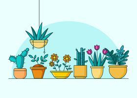 Hus Växt Med Krukvektor vektor