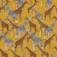 goldener Hintergrund mit Giraffen, die Zebras, Tiger und Leoparden sein wollen vektor