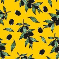 gelber Hintergrund mit Olivenzweigen vektor