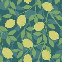 grön sömlös bakgrund med citrongrenar vektor