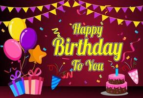 Alles Gute zum Geburtstag mit Luftballons und Kuchen vektor