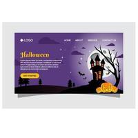 spöklik halloween bakgrund med pumpor vektor