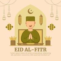 eid al-fitr gratulationskort vektor