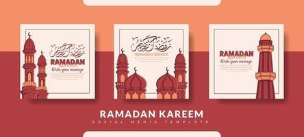 Ramadan Post-Vorlage, Social Media Post-Vorlage gesetzt vektor
