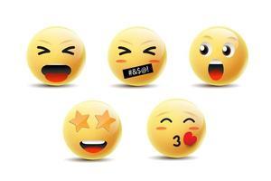 Emoji-Ikonendesign mit Lächeln, wütend, glücklich und einer anderen Gesichtsemotion. vektor