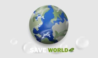 rädda världen, säg nej till plastkonceptbakgrund. vektor