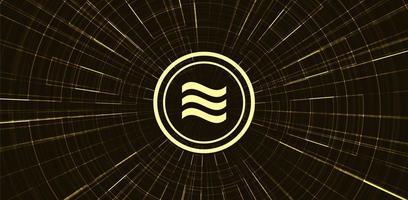 Kryptowährungssymbol der Goldwaage auf netzwerktechnologischem Hintergrund vektor
