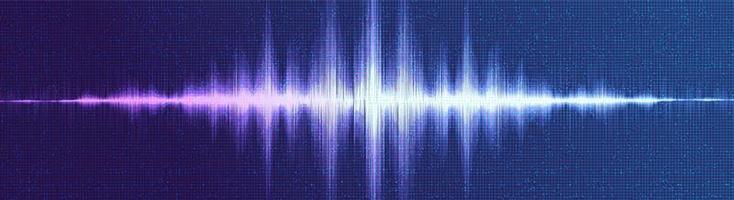 Panorama digitale Schallwelle niedrig und hoch vektor