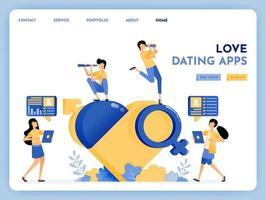 Liebe Dating-App, um romantische Lebenspartner zu finden und zu suchen. Symbol der Sexualerziehung 3d der Venus, des Mars, des Geschlechts, des Herzens. wahre Liebe mit Konversations-Apps. Illustration für Landing Page, Web, Website, Poster, UI vektor