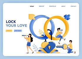 Finden Sie einen treuen Lebenspartner mit Dating-Apps. 3D Sexualerziehung Symbol der Venus, Mars, Geschlecht, Herz, Schlüssel, Vorhängeschloss. Matchmaking durch Schutz der Privatsphäre. Illustration für Landing Page, Web, Website, Poster, UI vektor