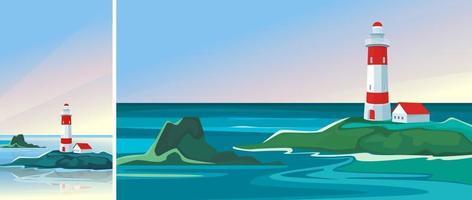 Landschaft mit Leuchtturm im Morgengrauen. Seelandschaft in vertikaler und horizontaler Ausrichtung. vektor