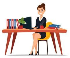 Geschäftsfrau sitzt am Tisch vektor