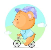 süßer kleiner Bär, der Fahrrad fährt vektor