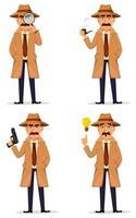 detektiv i hatt och kappa. stilig karaktär vektor