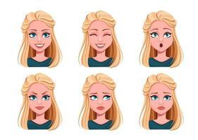 Gesichtsausdrücke der schönen Frau vektor