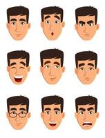 ansiktsuttryck av en affärsman. olika manliga känslor. vektor