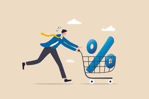 Prozentsatz des Einkaufsrabattes, Zinssatz des Hypothekendarlehens oder Konzept des Ertrags und Gewinns von Investitionen vektor