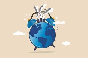 Weltklimakrise oder Alarm zur globalen Erwärmung, Zeit, sich um unser Weltumweltkonzept zu kümmern vektor