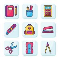 stationär skolmaterial ikonuppsättning vektor