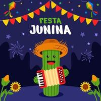 festa junina feier mit kaktus charakter vektor