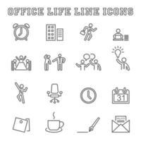 kontor liv linje ikoner vektor