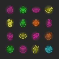 frukt neon ikonuppsättning vektor