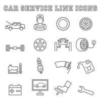 Autoservice-Linie Symbole vektor
