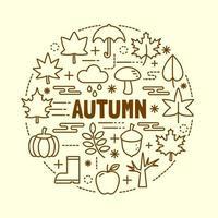 Herbst minimale dünne Linie Symbole gesetzt vektor