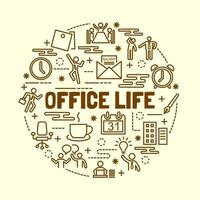 kontor liv minimal tunn linje ikoner set vektor